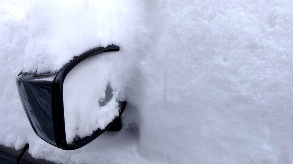 sneg, zima, retrovizor