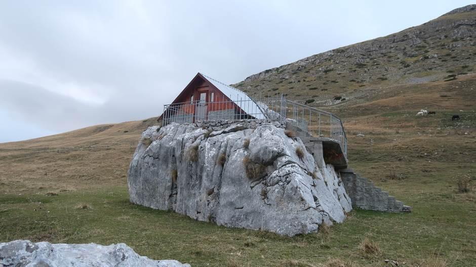 kuća, koliba, stijena, planina