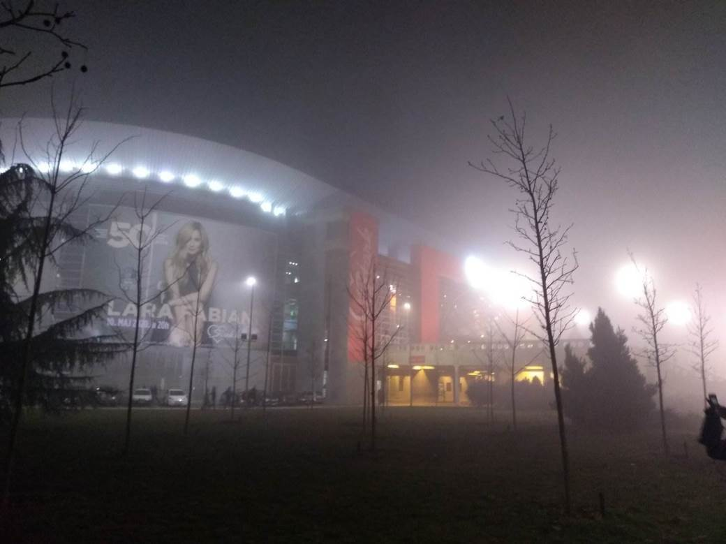 beogradska arena, magla