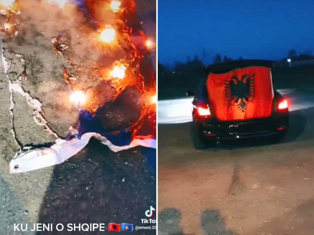 Paljenje srpske zastave kosovo albanija
