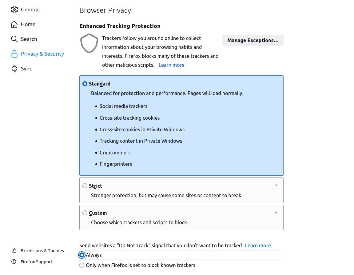 mozilla firefox podešavanja privcy and security trackers